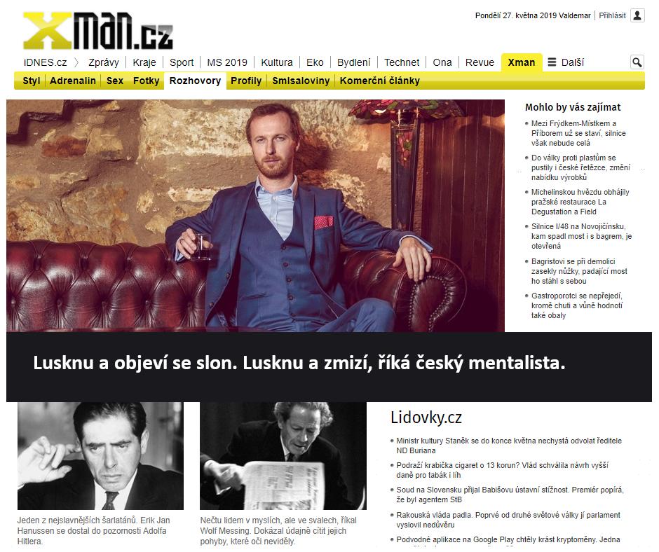Xman.cz: Lusknu a objeví se slon. Lusknu a zmizí, říká český mentalista.