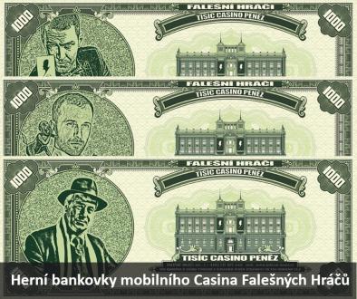 Herni bankovky mobilniho Casina Falesnych Hracu