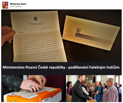 Ministerstvo financi Ceske republiky - podekovani Falesnym hracum
